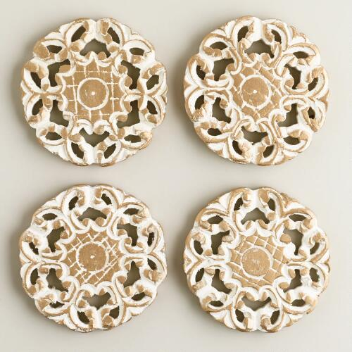Carved Medallion Coasters, Set of 4