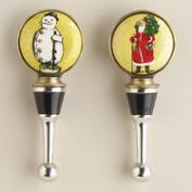 St. Nick and Snowman Wine Stoppers, Set of 2