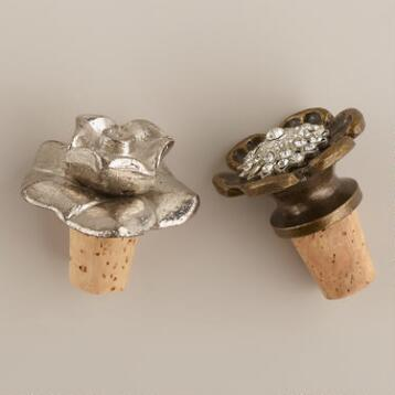 Metal Flower Wine Stoppers, Set of 3