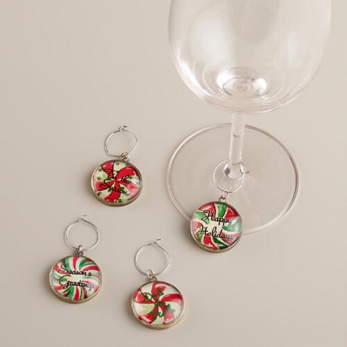 Red and Mint Vintage Holiday Wine Charms
