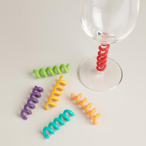 Multicolored Curly Wine Stem Charms, Set of 6