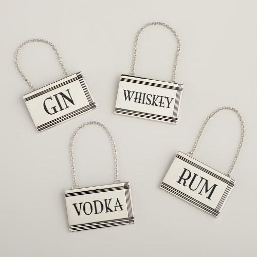 Retro Decanter Tags, Set of 4