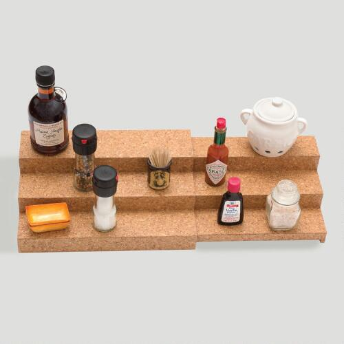 Bamboo and Cork 3-Tier Expandable Shelf