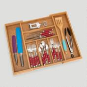 Bamboo and Cork Expandable Flatware Organizer
