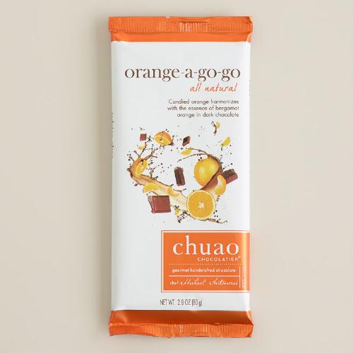 Chuao Dark Chocolate Orange-A-Gogo Bar, Set of 2