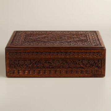 Espresso Carved Brooklyn Jewelry Box