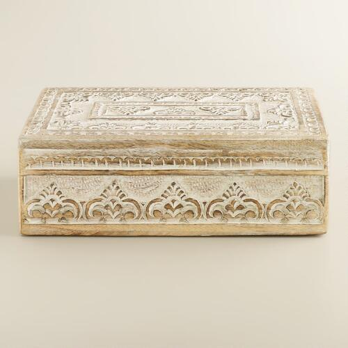Whitewash Carved Brooklyn Jewelry Box