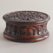 Espresso Aria Carved Round Jewelry Box