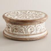 Whitewash Aria Carved Round Jewelry Box