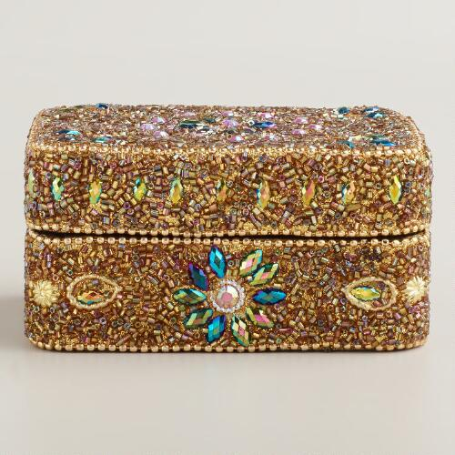 Gold Beaded Molly Jewelry Box