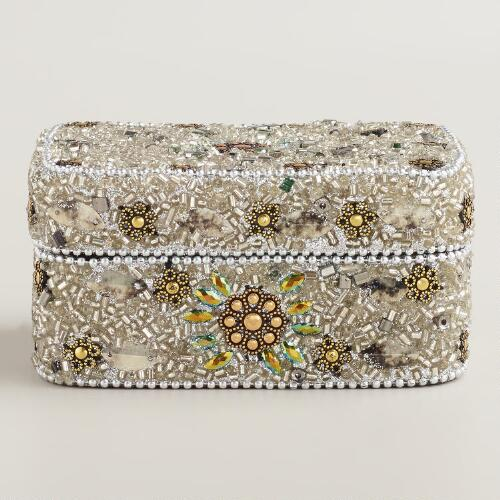 Silver Beaded Molly Jewelry Box