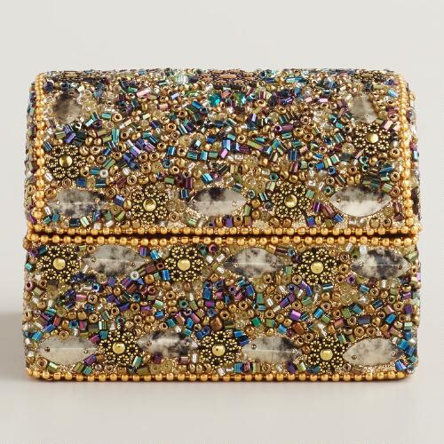 Gold Beaded Molly Dome Jewelry Box