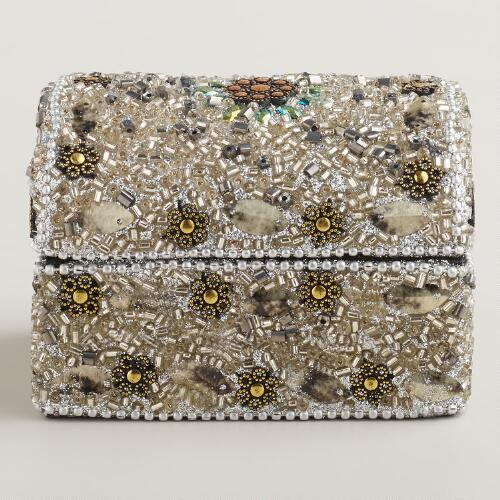 Silver Beaded Molly Dome Jewelry Box