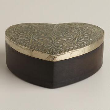 Silver-Finish Sadie Heart Jewelry Box