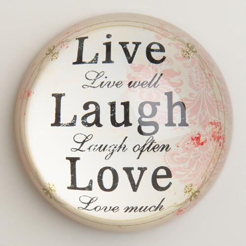 Live, Laugh, Love Paperweight
