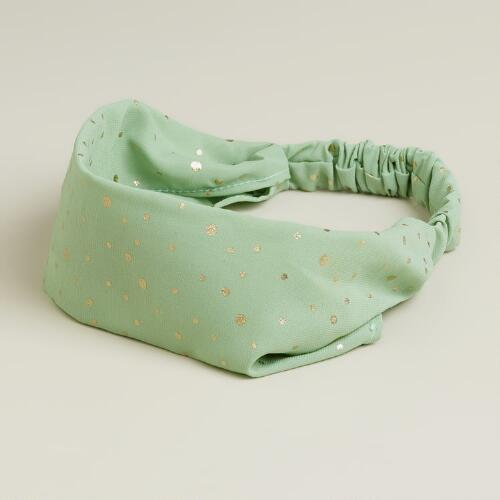 Soft Mint and Gold Dot Headband