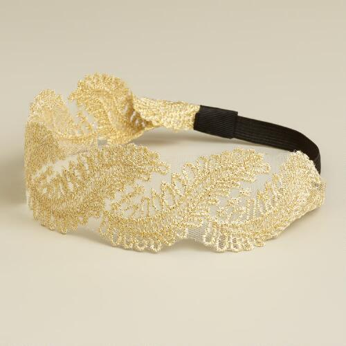 Ivory and Gold Lace Elastic Headband