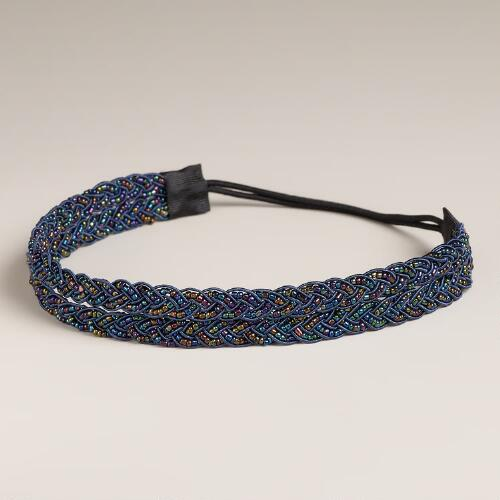 Blue Braid Beaded Elastic Double Headband