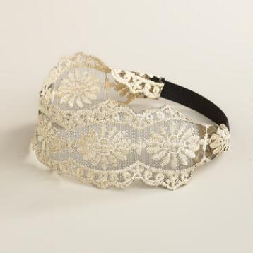 Wide Ivory Lace Elastic Headband
