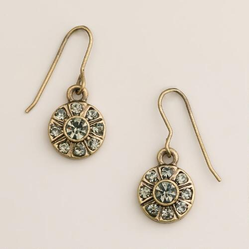 Black Diamond Round Drop Earrings