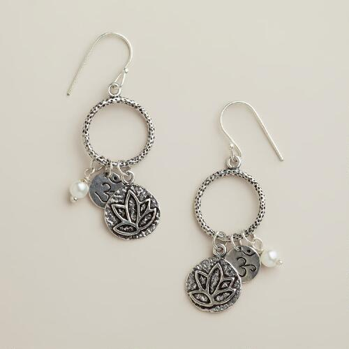 Silver Lotus Charm Drop Earrings
