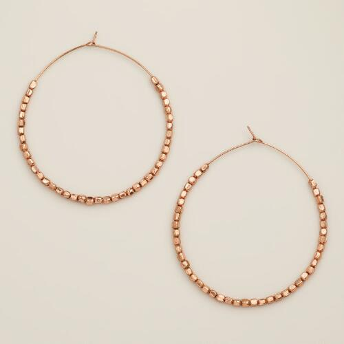Large Rose Gold Beaded Hoop Earrings