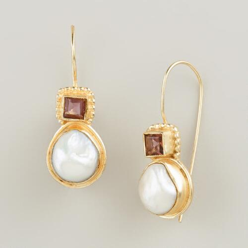Gold Pearl and Amethyst Drop Earrings