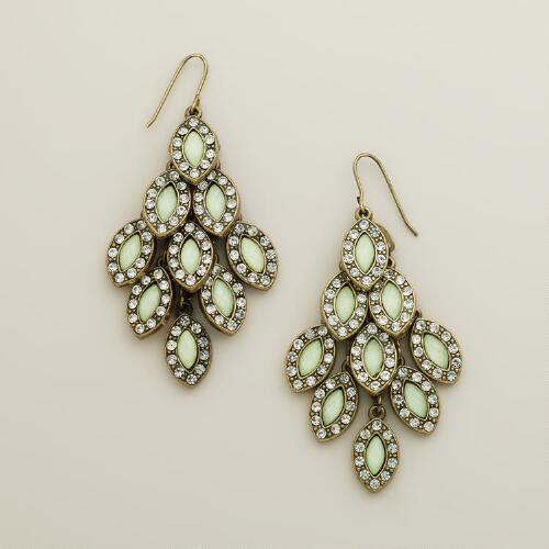 Mint and Rhinestone Tiered Chandelier Earrings