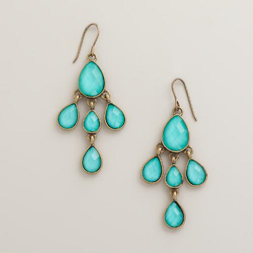 Turquoise and Gold Stone Tiered Chandelier Earrings