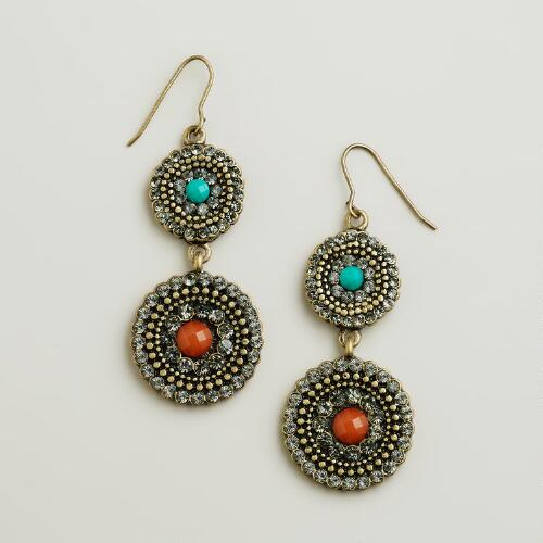 Gold, Turquoise and Orange Pave Double Drop Earrings