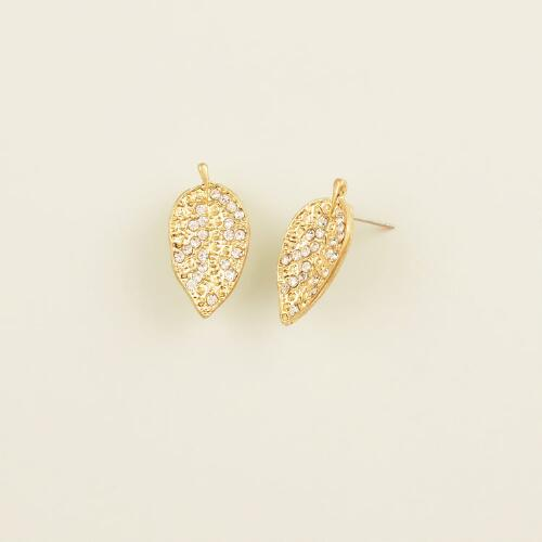 Gold Pave Leaf Stud Earrings