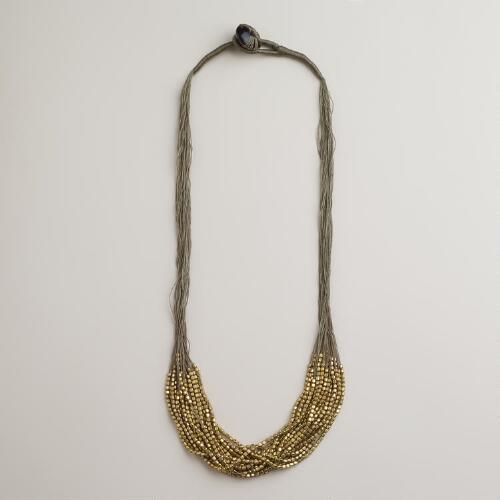 Gray and Gold Bead Necklace