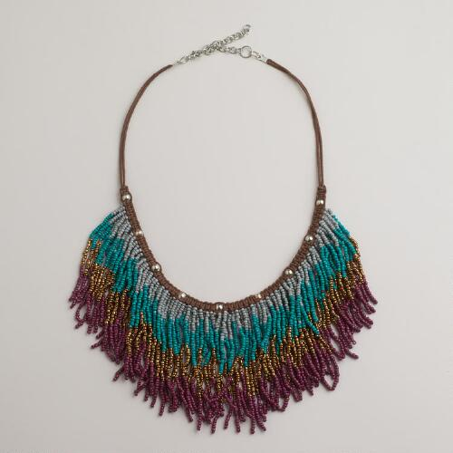 Ombre Fringe Beaded Necklace