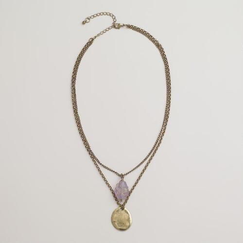 Semi-Precious Glass Pendant Necklace