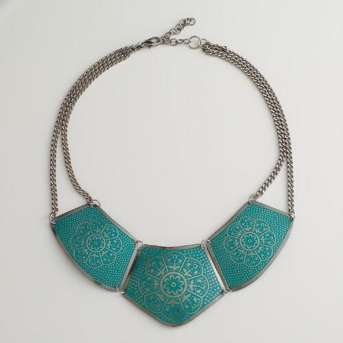 Teal Metal Bib Necklace