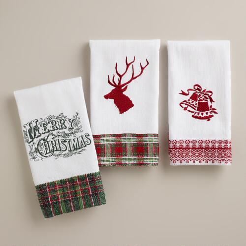 Holiday Tip Towels, Set of 3