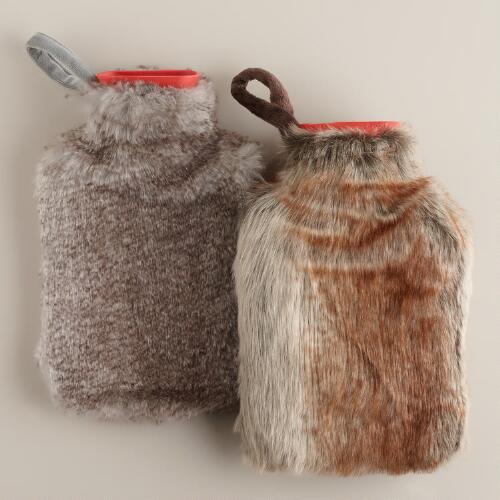 Faux Fur Hot Water Bottles, Set of 2