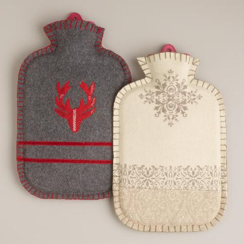 Felt Hot Water Bottles, Set of 2