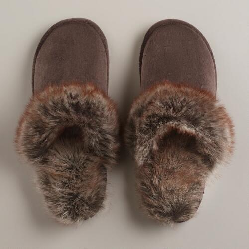 Brown Faux Fur Slippers