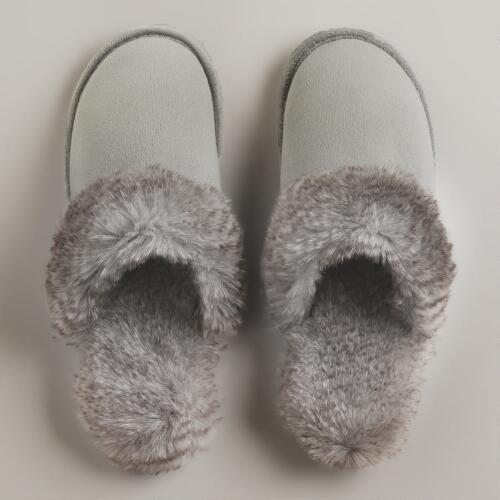 Gray Faux Fur Slippers