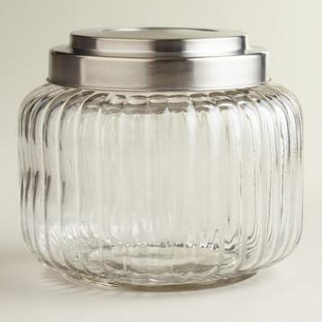 Vintage-Style Ribbed Glass Jar
