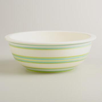 Spring Stripe Ceramic Mixing Bowl
