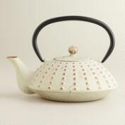 Ivory Hobnail Cast Iron Tea Kettle