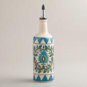Floral Hand-Painted Ceramic Oil Bottle