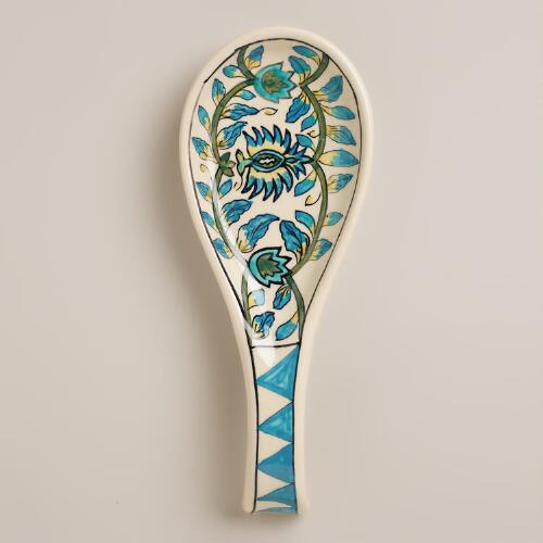 Floral Hand-Painted Ceramic Spoon Rest