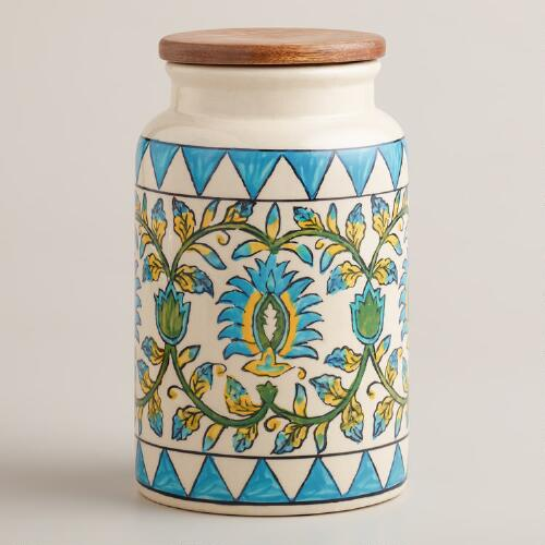 Floral Print Ceramic Canister