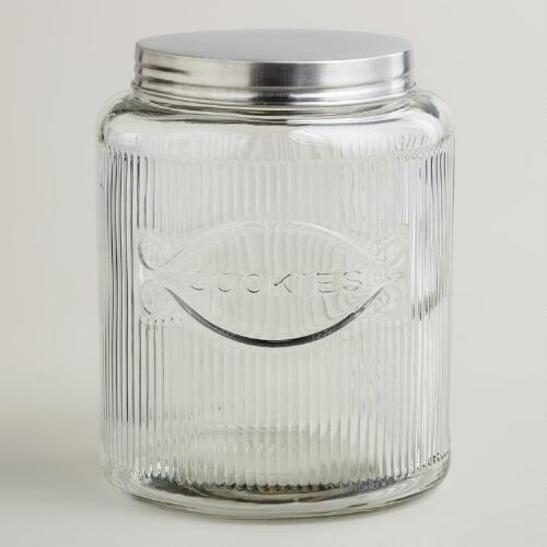 Large Hoosier-Style Glass Cookie Jar