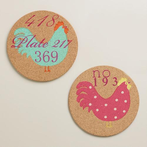 Rooster Cork Trivets, Set of 2
