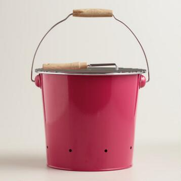 Mini Pink Galvanized Steel Bucket Grill