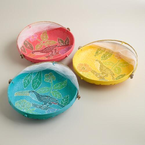 Medium Hand-Painted Food Domes, Set of 3